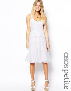 ASOS PETITE Exclusive Premium Drop Waist Dress In Pretty Lace