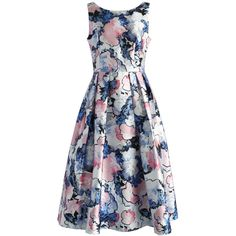 Chicwish Aquatic Floral Printed Prom Dress (€53) ❤ liked on Polyvore featuring dresses, multi, floral party dresses, boat neck prom dress, floral prom dresses, party dresses and flower print dress