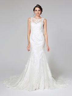 Lanting Bride® Sereia Vestido de Noiva - Elegante e Luxuoso Sem costas Cauda Capela Decorado com Bijuteria Renda Tule com Com Apliques - BRL R$844,97
