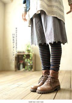 mori girl   Tumblr. eyelet walking short. so cute with the stripey legs