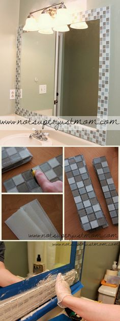Check out this easy idea on how to make a #DIY mosaic mirror frame for #bathroom #homedecor on a #budget #project