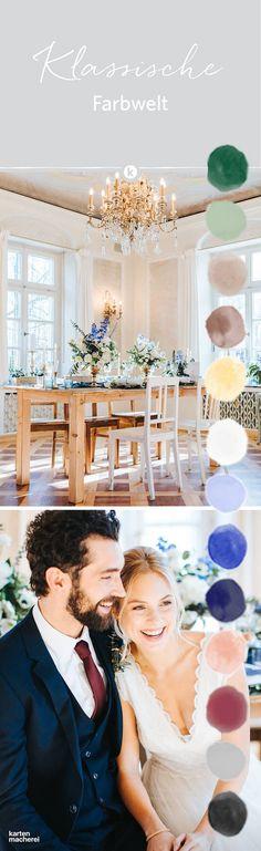 Ein schönes Beispiel für tolle Farbkombinationen für elegante klassische Hochzeiten: Dunkles Grün, Nude- und Blautöne mit Gold als Highlight. Entdeckt hier den ganzen Style Shoot.