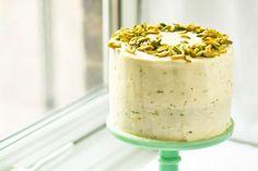 Zucchini Pistachio Spice Cake Lime Frosting
