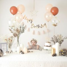 I'm going to take a nice birthday photo at home, my first birthday … - Geburtstag 1st Birthday Balloons, 1st Birthday Photoshoot, 1st Birthday Parties, Simple First Birthday, Baby Girl 1st Birthday, Baby Birthday Themes, Girl Birthday Decorations, Partys, Baby Party