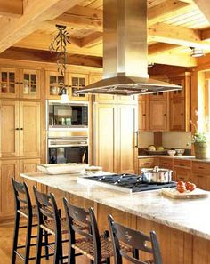 The Essential Function of Kitchen Vent Hoods:Long Stainless Steel Kitchen Vent Hoods–traditional Kitchen Island With Long Kitchen Vent Hoods Home Kitchens, Kitchen Island Range, Kitchen Remodel, Kitchen Design, Kitchen Decor, Kitchen Range Hood, New Kitchen, Kitchen Layout, Kitchen Style