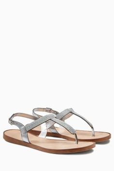 Buy Silver Embellished Toe Thong Sandals from the Next UK online shop