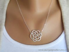 Rose Necklace  silver dainty rose pendant by morganprather on Etsy, $23.00
