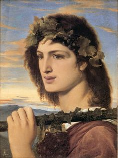 Simeon Solomon - Bacchus, 1867. Many of Solomon's depictions of handsome young men were criticized for their blatant androgyny. 1867, greek mythology gods, bacchus, preraphaelit art, dionysus, simeon solomon18401905, paint, artpreraphaelit brotherhood, dionyso