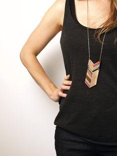 "NEW LENGTH COLO - Laser cut, walnut necklace, color 30"""