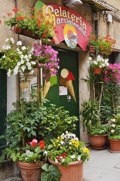 ✯ Italian Ice Cream Shop from Fine Art America ~located in Vernazza, Italy (Cinque Terre) Yvoire, Italian Ice Cream, All About Italy, Gelato Shop, Ice Cream Parlor, Shop Fronts, Shop Around, Italian Style, Italian Life