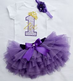 Baby Girl Gold and Purple First Birthday Princess Crown tutu Outfit My 1st Birthday Outfit,Baby Girl 1st 2nd princess Birthday purple gold