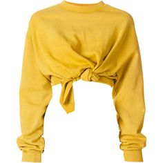 Ottolinger front knot jumper (680 NZD) ❤ liked on Polyvore featuring tops, sweaters, crop top, shirts, yellow sweater, shirt crop top, shirt sweater, cut-out crop tops and yellow jumper