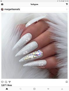 Brilliant sparkle swow winter nails with jewels