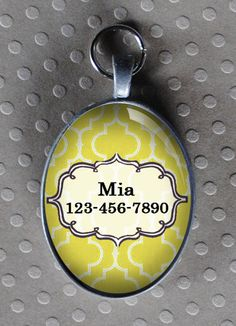 Pet iD tag oval CAT ID small breed Dog Tag Cat Tag by California Kitties yellow ID OTE7739