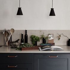 Love this gorgeous kitchen via 👌🏻 Menu Bollard lamp available in our online store ✨ Kitchen Equipment, Scandinavian Home, Interior Inspiration, Floating Shelves, The Good Place, Kitchen Cabinets, Minimalist, Indoor, Ceiling Lights