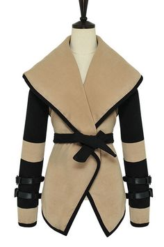 Color Blocked Oversized Lapels Self-belted Woolen Overcoat