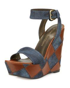 STUART WEITZMAN LETSDANCE PATCHWORK WEDGE SANDAL, NAVY. #stuartweitzman #shoes #sandals