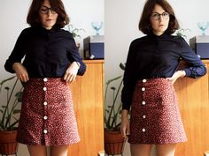 Skirt with buttons on front, could be made from a shirt?