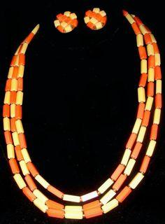 Vintage West Germany Orange & Yellow Beaded Demi - Multistrand Necklace-Earrings