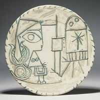Large Round Plate (Portrait of a Woman in the Studio in Relief), Pablo Picasso, fired clay, relief lines tinted green, 1956   Picasso