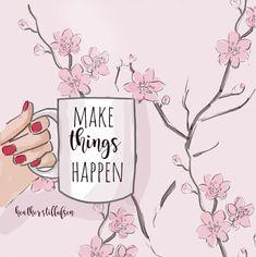 Make Things Happen Spring Art Cherry by RoseHillDesignStudio