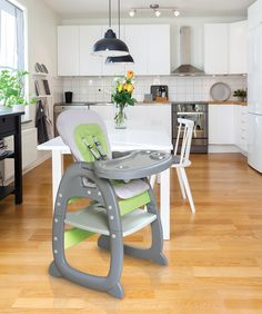 Envee II Baby High Chair with Playtable Conversion - Gray and Green