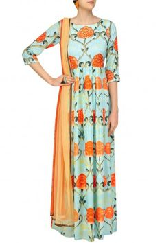 Prints By Radhika Blue Pleated Gown with Tangerine Dupatta #happyshopping#shopnow#ppus
