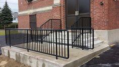 commercial rails Handicap Ramps, Balcony Railing, Fence Gate, Commercial, Deck, Iron, Windows, Craft, Outdoor Decor