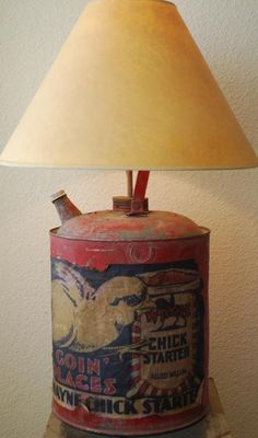 Farmhouse Chick Starter Lamp Old Red Paint Bucket by redroosterbab, $110.00