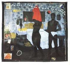 """Kerry James Marshall, """"Could This Be Love"""" (1992), acrylic and collage on canvas, 8 ft. 7 in. × 9 ft. 6 in"""