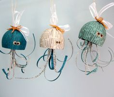 Beach decor coastal octopus Christmas ornaments. Nautical decor holiday octopus ornaments with starfish and shells, $10 each, BUY HERE: https://www.etsy.com/listing/198860346/beach-decor-octopus-christmas-ornament?ref=shop_home_active_7