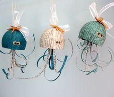 Beach Decor Octopus Christmas Ornament - Nautical Decor Octopus Holiday Ornament in 3 Colors