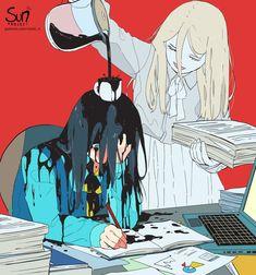 Mimi N are creating SUN Project - Fanart - Critique | Patreon Art Manga, Art Anime, Dark Art Illustrations, Art Et Illustration, Art Triste, Art Sketches, Art Drawings, Image Triste, Sun Projects