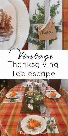 Vintage Thanksgiving table setting with vintage transferware, water glasses, silverware, and items I already had. DagmarBleasdale.com #vintage #Thanksgiving #fall #pumpkins #glasses #silverware #tablesetting #tablescape