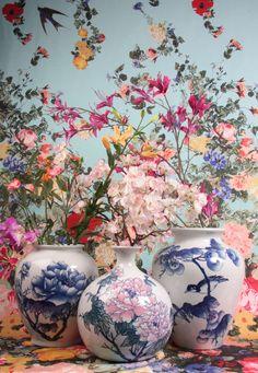 Bont palet van kleuren en prints #bloemen