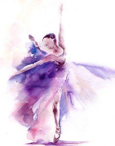 Ballerina Dancer Watercolor Painting Art Print 9x12'' Dance Watercolour Art #Abstract