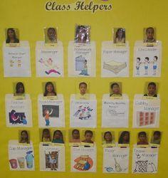 dea for helpers/ management Preschool Helper Chart, Classroom Helper Chart, Classroom Setup, Classroom Organization, Classroom Management, Class Management, Organizing, 1st Day Of School, Pre School