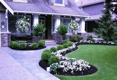 Flower Bed Shapes: affordable-flower-bed-shapes-with-grass-and-the-round-shaped-plants-and-the-small-plant-with-white-flowers