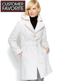 MICHAEL Michael Kors Hooded Belted Wool-Blend Coat