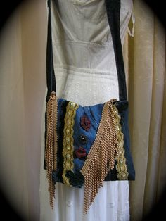 Hippie Denim Bag handmade with fringe lace and applique embellishments by Dede