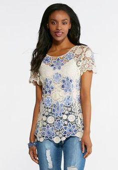 fc001ca58d Cato Fashions Plus Size Blue Floral Crochet Top #CatoFashions Cato Fashion  Plus Size, Crochet