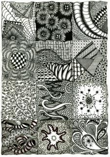 My First Zentangle Zendoodle Sampler: ~ Here is a Zentangle Style Pattern Sampler filled with a variety of Zendoodles by Tammy ~~~~~~~~~~~~~~~~~~~~~~~~~~~~~~~~~~~~~~~~~~~~~~  ..I used a  Staedlter