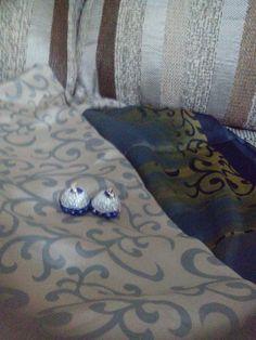 Silver and blue jhumka