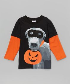 Another great find on #zulily! Orange & Gray Trick or Treat Dog Tee - Toddler & Boys #zulilyfinds