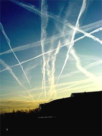 These are chemtrails. You think they're a beautiful part of the sky? Its actually your government spraying chemicals into the air we breath since the Enjoy. Or be concerned. Air Image, Dear World, Salud Natural, Us Government, Lap Dogs, New World Order, Natural Health, The Secret, Sick