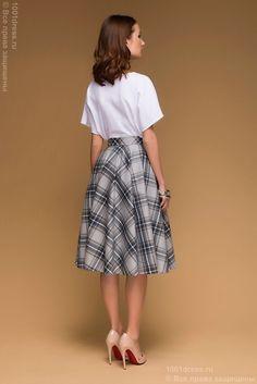 Серая юбка-солнце длины миди в клетку купить в интернет-магазине 1001 DRESS