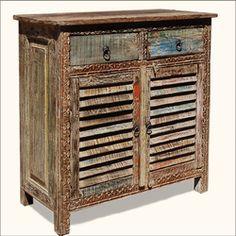 Appalachian Rustic Old Wood Shutter Doors Buffet Cabinet