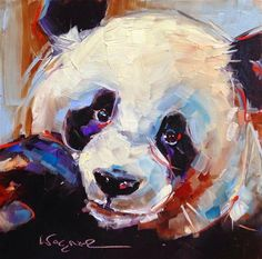 ORIGINAL CONTEMPORARY PANDA BEAR PAINTING by OLGA WAGNER - Original Fine Art for Sale - © by Olga Wagner