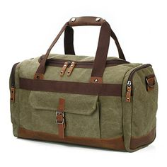 BLUBOON Canvas Travel Duffel Bag Large Weekend Bag Overnight Tote Carry on  Bag Genuine Leather Trim     Continue to the product at the image link. a97a599591