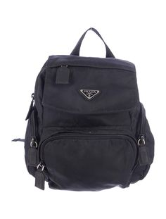 Black Prada nylon mini backpack with three front zip pockets, adjustable shoulder straps and top zip closure. Shop Prada new and pre-owned designer handbags at The RealReal.